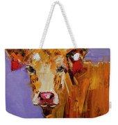 Red Earring Cow Weekender Tote Bag