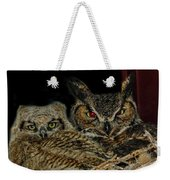Red Eyed Mama And Baby Horned Owls Weekender Tote Bag
