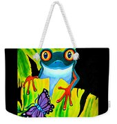 Red Eyed Tree Frog And Purple Butterfly Weekender Tote Bag
