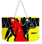 Red Faerie And Black Wolf With Yellow Moon Weekender Tote Bag