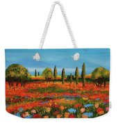 Red Field Weekender Tote Bag