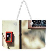 Red Fire Box With Window, Shadows And Gutter Weekender Tote Bag