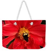 Red Flower And Bee Weekender Tote Bag