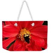 Red Flower And Bee Weekender Tote Bag