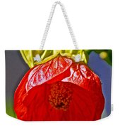 Red Flower At Pilgrim Place  In Claremont-california Weekender Tote Bag