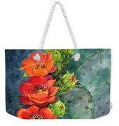 Red Flowering Prickly Pear Cactus Weekender Tote Bag