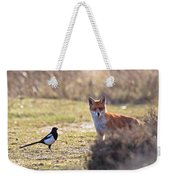 Red Fox And Magpie Weekender Tote Bag