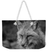 Red Fox In Black And White Weekender Tote Bag