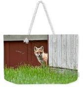 Red Fox Kit Peaking Around Old Barn Weekender Tote Bag
