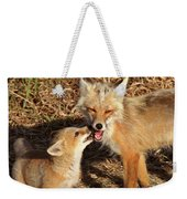 Red Fox Vixen With Pup On Hecla Island In Manitoba Weekender Tote Bag