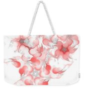 Red Fractal Floral Pattern Weekender Tote Bag