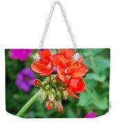 Red Fresh Geraniums Weekender Tote Bag