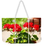 Red Geraniums Triptych Weekender Tote Bag