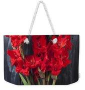 Red Gladiolus In Striped Vase Weekender Tote Bag