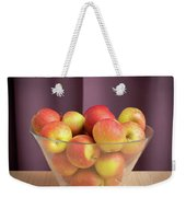 Red Green Apples In A Glass Bowl Weekender Tote Bag
