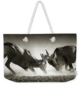 Red Hartebeest Dual In Dust Weekender Tote Bag