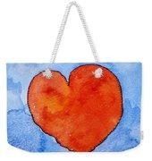 Red Heart On Blue Weekender Tote Bag