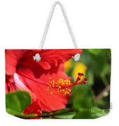 Red Hibiscus And Green Weekender Tote Bag