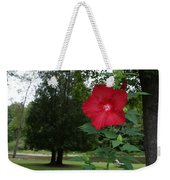 Red Hibiscus Highlights A Scene On The River Weekender Tote Bag