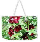 Red Hollyhocks Weekender Tote Bag