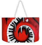 Red Hot - Swirling Piano Keys - Music In Motion Weekender Tote Bag