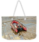 Red Inflatable Boat With Motor In Musselburgh Haven. Weekender Tote Bag