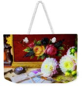 Red Letter Box And Dahlias Weekender Tote Bag