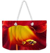 Red Lily Center 4 Weekender Tote Bag
