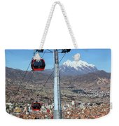Red Line Cable Cars And Mt Illimani La Paz Bolivia Weekender Tote Bag