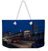 Red Line Train Rumbling Over The Longfellow Bridge In Boston Ma Weekender Tote Bag