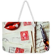 Red Lips Pin And Old Letters Weekender Tote Bag