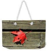 Red Maple Leaf On A Boardwalk  Weekender Tote Bag