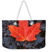 Red Maple Leaf On Black Shale Weekender Tote Bag