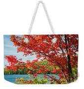 Red Maple On Lake Shore Weekender Tote Bag