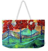 Red Maples On Green Hills With Name And Title Weekender Tote Bag