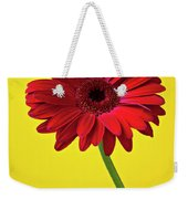 Red Mum Against Yellow Background Weekender Tote Bag