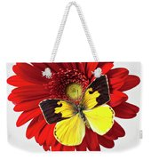 Red Mum With Dogface Butterfly Weekender Tote Bag by Garry Gay