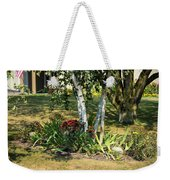 Red Mums And Birch Trees Weekender Tote Bag