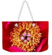 Red Pink Flower Center.  Close-up Center Weekender Tote Bag