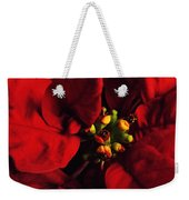 Red Poinsettia Floral Art Weekender Tote Bag