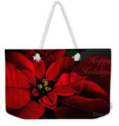 Red Poinsettia Happy Holidays Card Weekender Tote Bag