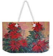 Red Poinsettias By George Wood Weekender Tote Bag