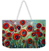 Red Poppies In Grass Weekender Tote Bag