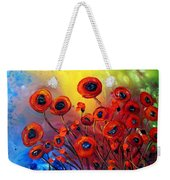 Red Poppies In Rain Weekender Tote Bag