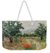 Red Poppies In The Olive Garden Weekender Tote Bag