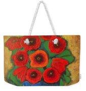 Red Poppies In Blue Vase Weekender Tote Bag