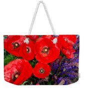 Red Poppy Cluster With Purple Lavender Weekender Tote Bag