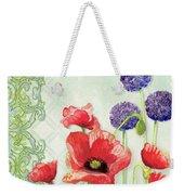 Red Poppy Purple Allium IIi - Retro Modern Patterns Weekender Tote Bag
