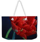 Red Princess Tulip On Blue Weekender Tote Bag