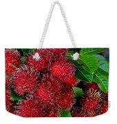 Red Rambutan And Green Leaves Weekender Tote Bag